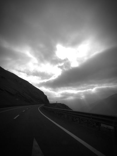 Highway black and white Black And White Road Curve Storm Cloud Sky Landscape Cloud - Sky Highway Lightning Empty Road