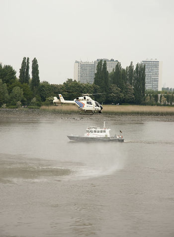 Police Force Antwerp, Belgium Belgium Helicopter Schelde Boat Building Exterior City Day Nautical Vessel Police River Sky Transportation Water Waterfront