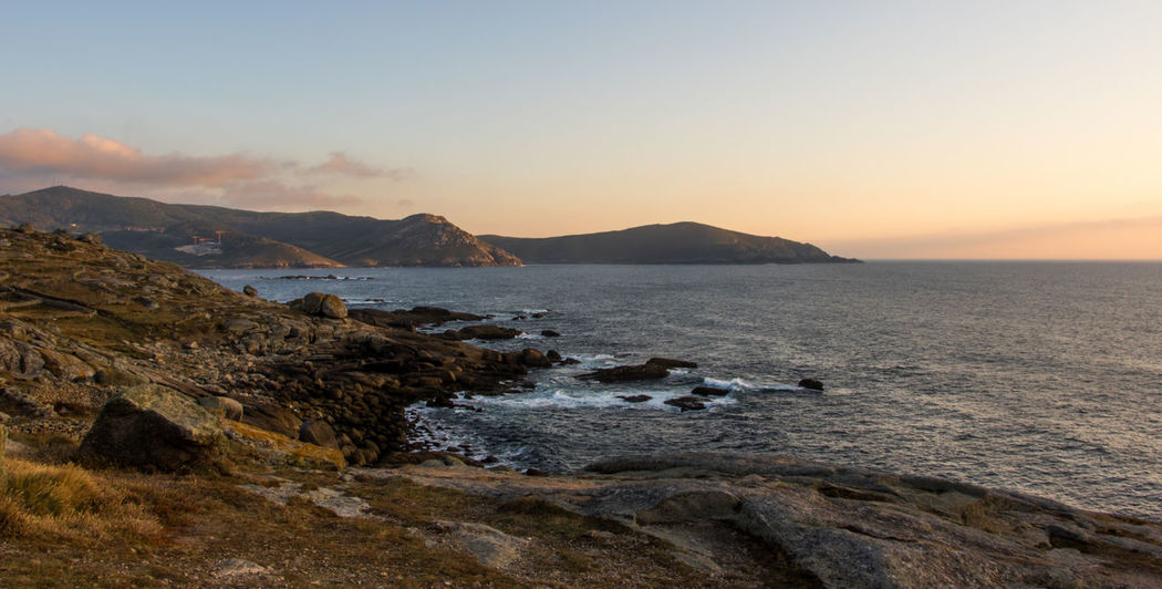 Muxía coast, Costa da Morte Atlantic Ocean Galicia SPAIN Beauty In Nature Day España Horizon Over Water Landscape Mountain Nature No People Outdoors Rock - Object Scenics Sea Sky Sunset Tranquility Water