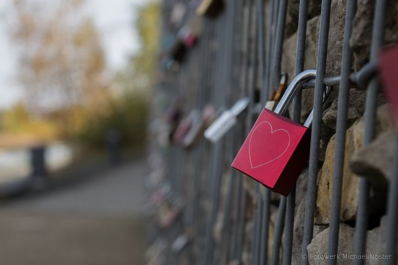 Love Lock Red Love Lock Close-up Outdoors No People
