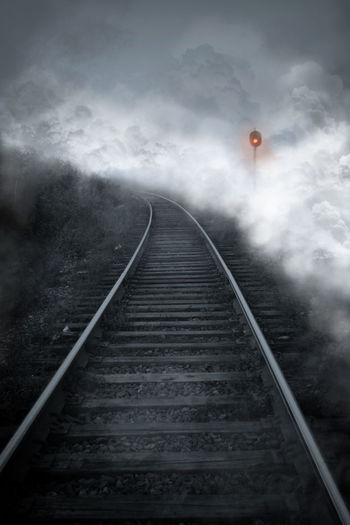 Railroad Track The Way Forward Transportation Dark Night Storm Storm Cloud No People Rail Transportation Cloud - Sky Outdoors Ominous Sky Thunderstorm Texture Twillight Mist Misty Darkness And Light Dark Photography Darkness And Beauty Silhouette B/w Collection B/W Photography Grey And Red