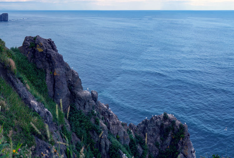 Sea Water Scenics - Nature Beauty In Nature Rock Tranquil Scene Horizon Over Water Tranquility Rock - Object Horizon Nature Sky Land No People Solid Non-urban Scene Idyllic Day Cliff Outdoors Rocky Coastline Formation