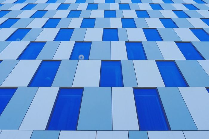 Blue Full Frame Pattern Backgrounds Close-up Mosaic Geometric Shape Parallel Square Shape Abstract Backgrounds Office Building Repetition Tile Rectangle