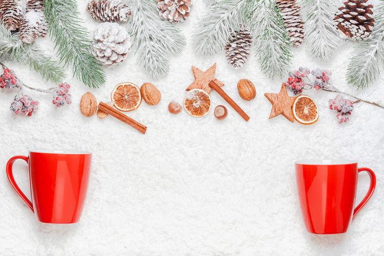 High angle view of christmas decoration on snow