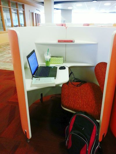 I have everything I need in this little cubby. Live To Learn Studying Reading Nook Learning My Desk Today Library Cubicle