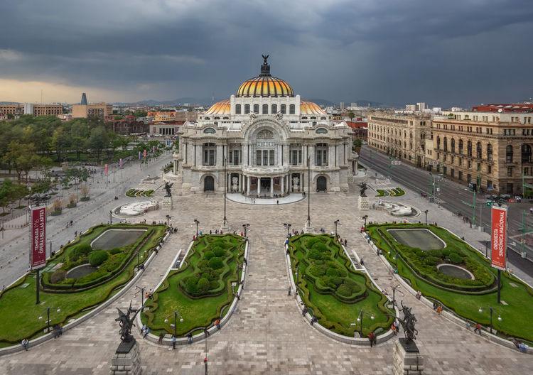 High angle view of palacio de bellas artes against cloudy sky