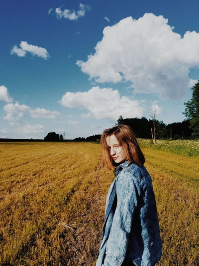 Russia Russian Girl Cloud - Sky Sky People Landscape Agriculture One Person Field Rural Scene Outdoors Nature Young Adult Day Growth