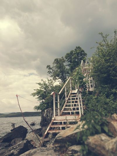 Old stairs Iron Stairs Old Stairs Lake Lake View Turgoyak Dramatic Sky Tree Water Sea Beach Sky Horizon Over Water Cloud - Sky Steps And Staircases Stairs Steps