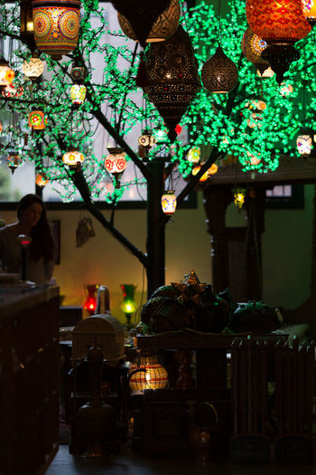 Art Is Everywhere Illuminated Indoors  Lamps Market Night One Person People Real People Retail