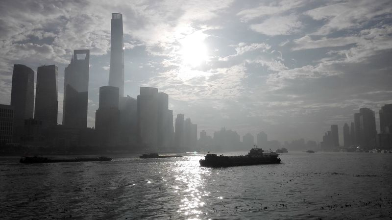 Morning Shanghai Skyscraper Architecture Urban Skyline Fog City Water Smog Beauty Outdoors Nature No People Building Exterior Sunlight Reflection Sunlight