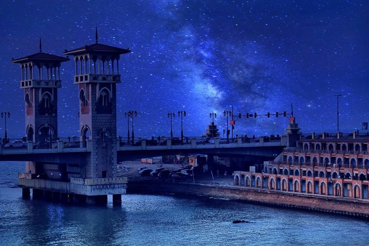 Stanly bridge - Alexandria - Egypt Alexandria Milky Way Star - Space Water Harbor Boat Mast Telescope Sagittarius Office Building Star Field Waterfront Moored