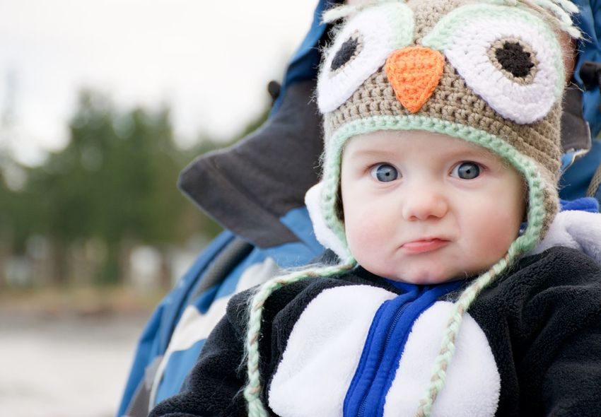 Baby Baby Boy Childhood Close-up Cute Front View Happiness Hat Innocence Lifestyles Looking At Camera Outdoors Owl Portrait Real People
