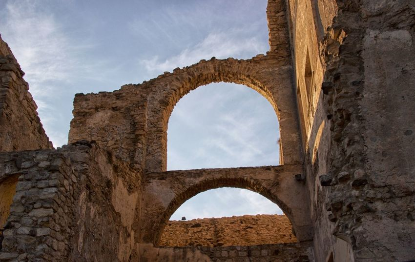 Castello della Valle Ancient Ancient Civilization Arch Archaeology Architecture Bad Condition Building Exterior Built Structure Castle Ruin Cloud - Sky Damaged Day History Indoors  Low Angle View No People Old Ruin Sky The Past Travel Travel Destinations