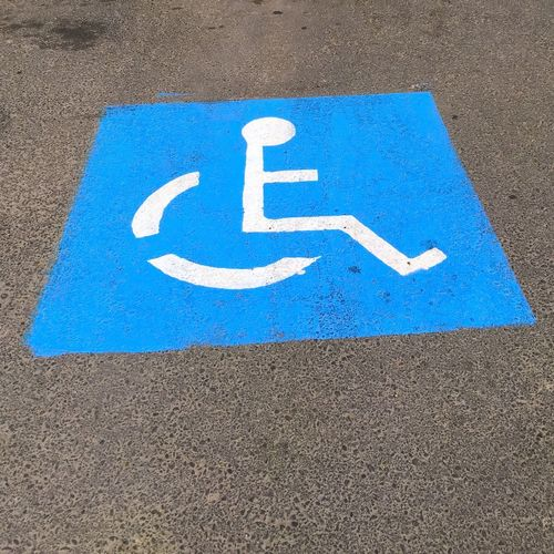 Blue Day No People Outdoors Parking Sign Physical Impairment Transportation Wheelchair Wheelchair Access