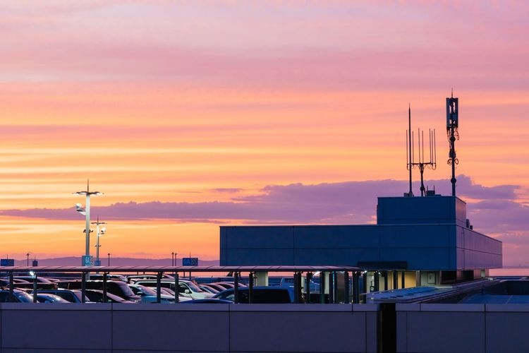 Sunset Sky Architecture Built Structure Building Exterior No People Outdoors Cloud - Sky Nautical Vessel Harbor Nature Technology City Day Osaka Airport Osaka Airport Carpark