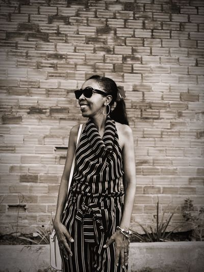 Patterns Woman Black Still Life Black And White Fashion Sunglasses Glasses One Person Real People Wall - Building Feature Lifestyles Pattern Brick Brick Wall Young Adult Built Structure Wall Architecture Casual Clothing Three Quarter Length Hairstyle