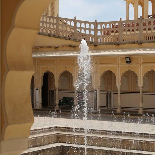 Fountain in front of building