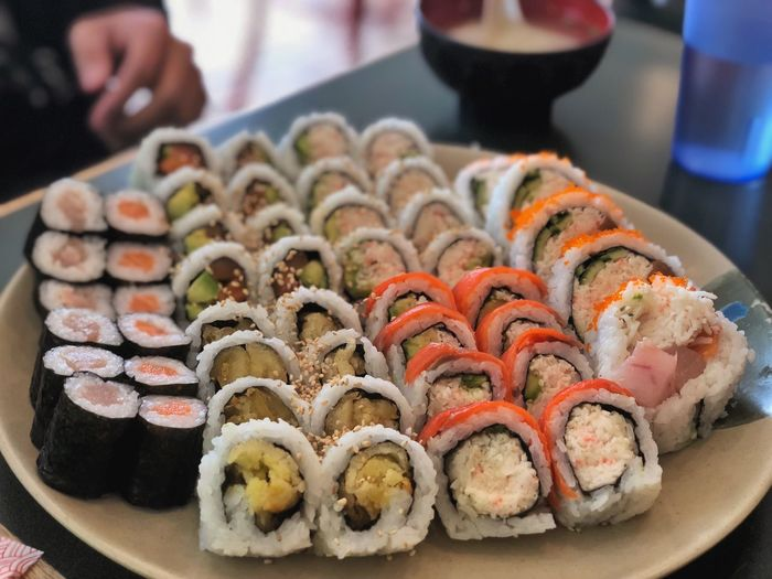 A good lunch Food Photography Fish Sushi Food And Drink Food Freshness Ready-to-eat Sushi Japanese Food Indulgence Asian Food Seafood Arrangement Close-up Rice