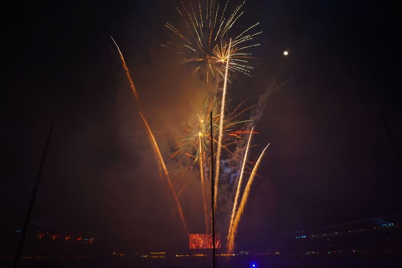 Easter day isn't complete without fireworks Firework Night Firework Display Illuminated Celebration Arts Culture And Entertainment Exploding Event Glowing Firework - Man Made Object Long Exposure Low Angle View Light Outdoors