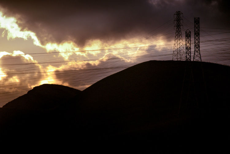 Clouds And Sky Landscape Landscape Photography Mountain Power Lines Power Lines Against Sky Power Tower Reflected Sun And Clouds In The Sky