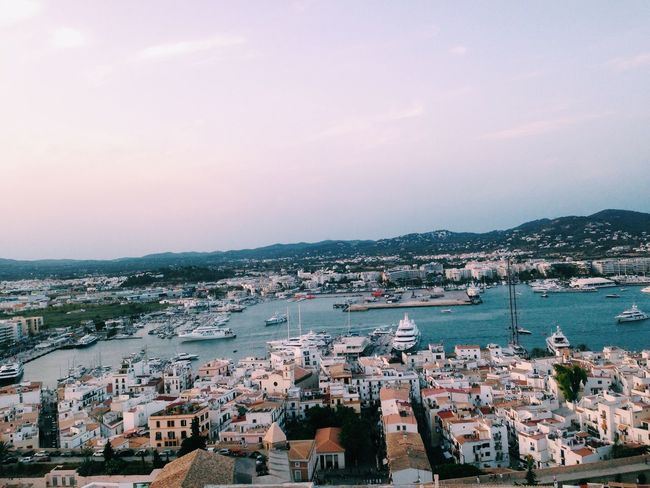 Architecture Building Exterior Built Structure Residential District Cityscape Crowded Residential Building High Angle View City Water Sky Outdoors Town House Community Sea Day Nature City Location Nautical Vessel VSCO Sommergefühle Ibiza