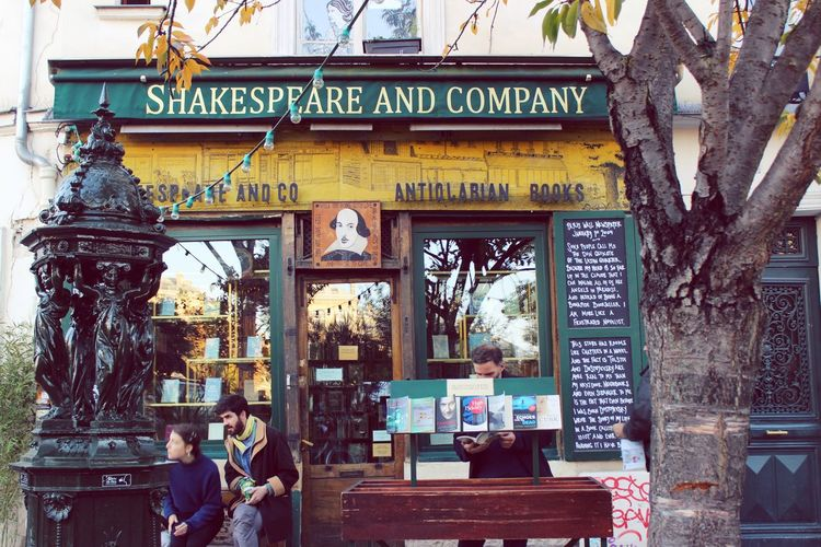 Shakespeare and Co. Paris Paris, France  Art Building Exterior Creativity Culture Entrance Outdoors Artists Writers Famous Places Books Tourism Autumn Sylviabeach Architecture Georgewhitman Bookstores Library Passerby Rental Read Adorable Greatideas