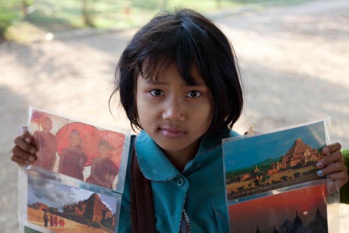Bagan Birma Burma Child Worker Girl Headshot Myanmar Portrait Postcards