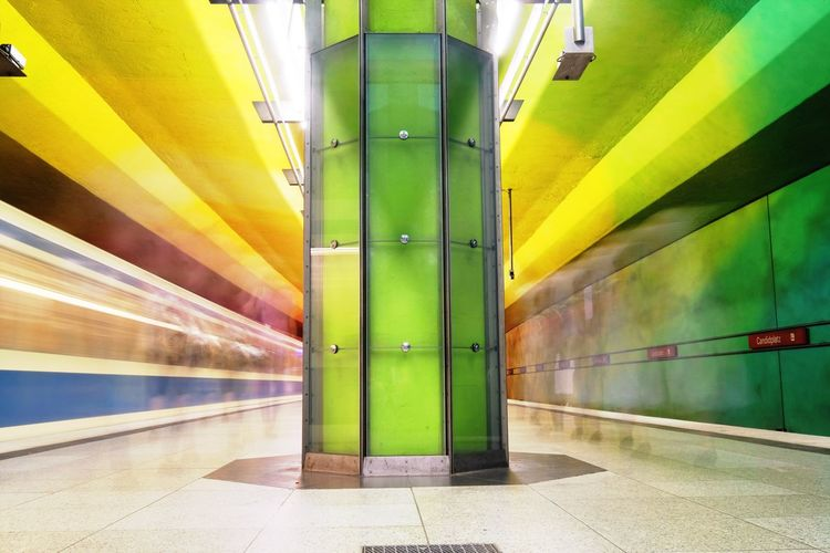 Transportation Illuminated Indoors  Subway Station Public Transportation Rail Transportation Architecture Yellow Underground Green Color Architectural Column Built Structure No People Day Futuristic Multi Colored Train - Vehicle Motion Blurred Motion Architecture Bestsellers
