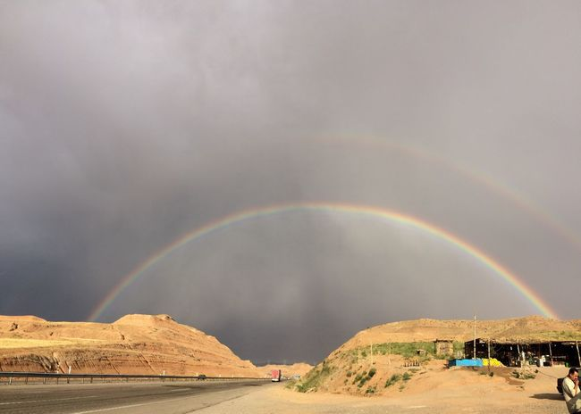 Rainbows Dual Rainbow Road Road Trip Bridge Sky And Clouds Iran Zanjan Color Of Life Two Is Better Than One