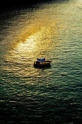 Sunrise EyeEmNewHere Water Transportation Nautical Vessel Mode Of Transport Rippled Outdoors High Angle View Waterfront Nature Day Beauty In Nature Sunset No People Jet Boat