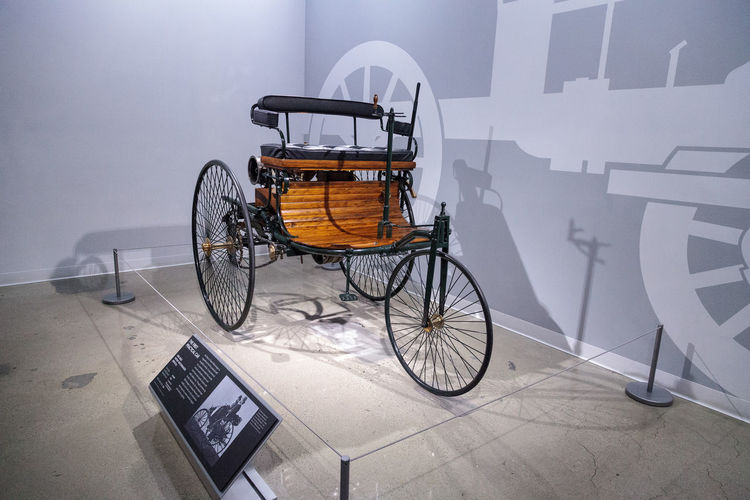 Los Angeles, CA, USA - March 4, 2017: Wood 1886 Benz Patent Motorwagen replica at the Petersen Automotive Museum in Los Angeles, California, United States. Editorial only. 1886 Automobile Benz Benz Patent Car Classic Car Day Indoors  Motorwagen No People Old Car Petersen Automotive Museum Vintage Vintage Cars
