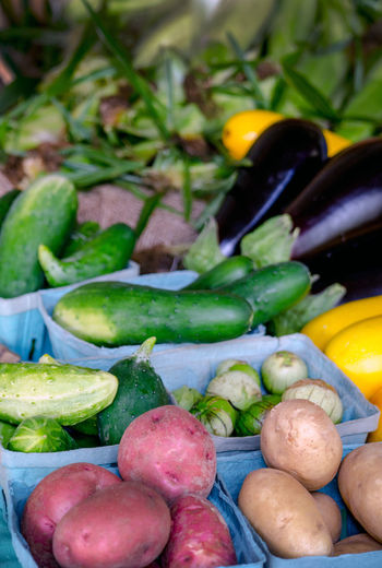 home grown vegetables in a colorful array Home Grown Close-up Corn On The Cob Day Egg Plant Farm Amrket Food Food And Drink Freshness Healthy Eating Large Group Of Objects No People Outdoor Market Outdoors Potatoes In Their Jackets Raw Food Variation Vegetable Zuchinni
