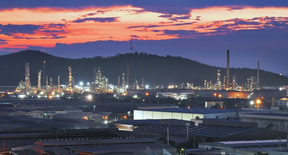 petroleum plants City Politics And Government Urban Skyline Mountain Sunset Industry Illuminated Harbor Shipyard Business Finance And Industry TOWNSCAPE