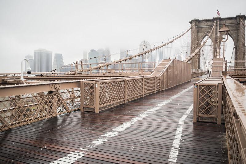 View of brooklyn bridge against sky in new york city