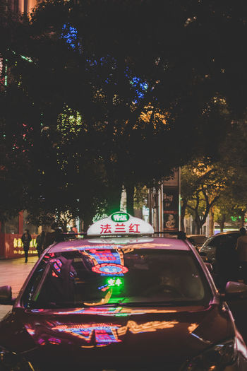 Tree Illuminated Plant City Car Mode Of Transportation Motor Vehicle Transportation Land Vehicle Architecture Night Building Exterior Street Neon Colorful City Life Taxi Cab