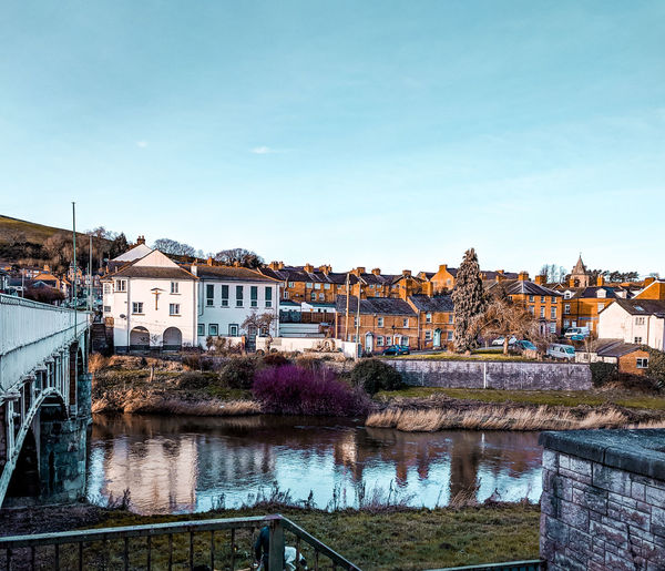 bridge over river Severn Wales UK Golden Hour Sky Settlement Residential Structure Skyline Arch Bridge Old Town Housing Settlement Residential District Urban Scene Cityscape TOWNSCAPE Waterfront River