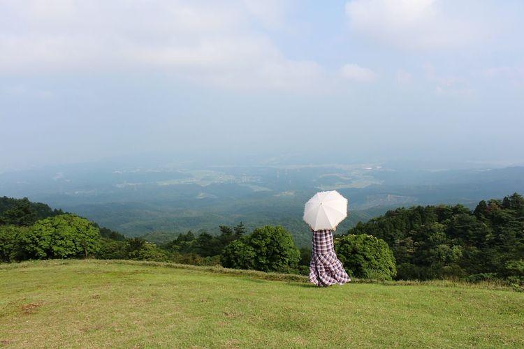 Aoyama Prairie Prairie Japan Hills Green Umbrella Sommergefühle