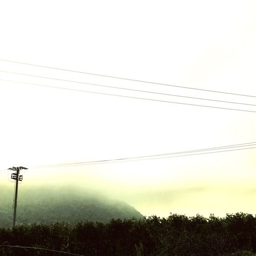 Suggestions. Tranquil Scene Scenics Power Line  Outdoors Nature Light Light And Shadow Fog Foggy Day