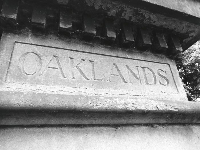 No People Text Sign Stone Oaklands Black And White Western Script Letters