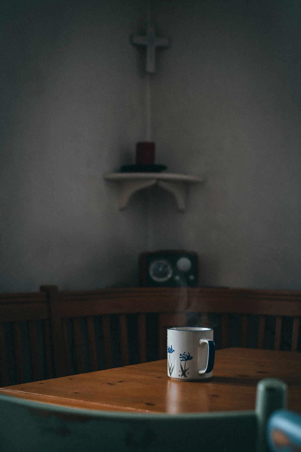 table, indoors, no people, cup, wood - material