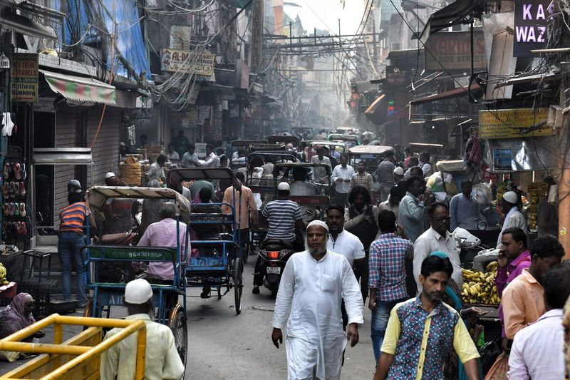 Old Delhi, India Market Large Group Of People Market Stall Retail  Business Finance And Industry Buying Men City Business People Store Adult Built Structure Real People Day Lifestyles Women Crowd Standing India Travel, Tour, Roam, Wander, Journey, Voyage Old Delhi,