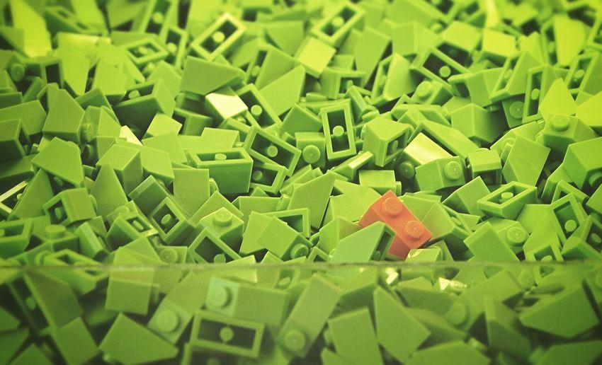 Close-Up Of Green Plastic Blocks