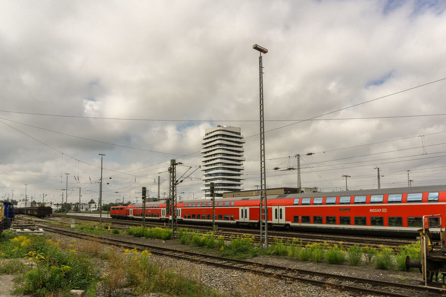BIETIGHEIM-BISSINGEN,Germany - September 03,2017: Train station This is the train station of the small town.Bietigheim is in the Stuttgart area. Baden-Württemberg  Bietigheim-Bissingen Rails Clouds Europe Germany Highrise Sky Train Train Station