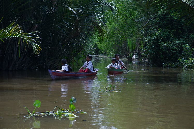 Go to school My Best Photo Tree Water Nautical Vessel Oar Sitting Rowing Togetherness Men River Forest