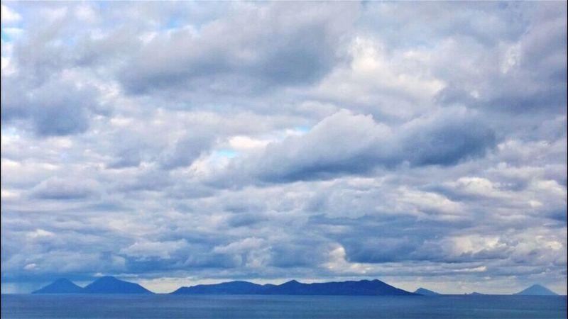 Paniramic Aeolian Islands Clouds Sea And Sky