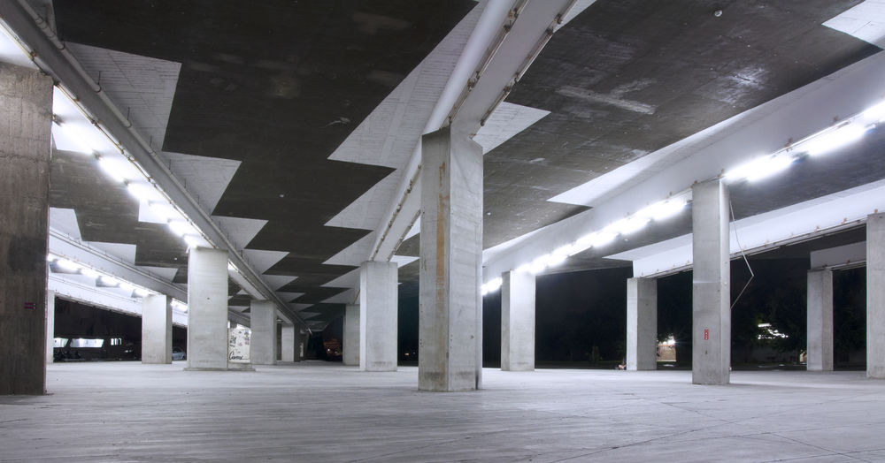 Architecture Architectural Column Built Structure Illuminated Empty No People Indoors  Building Absence Ceiling Parking Lot Lighting Equipment In A Row Night Warehouse Transportation Domestic Room Modern Flooring Parking Garage