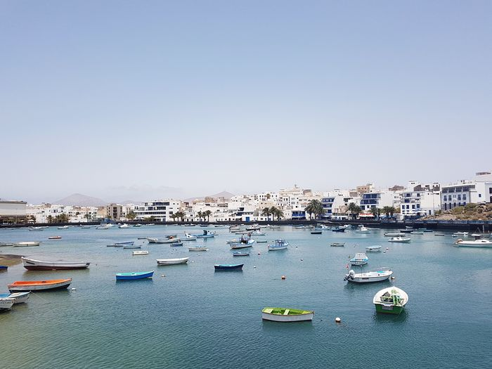 Arrecife Island Lanzarote Canary Islands Arrecife Nautical Vessel Water Mode Of Transportation Transportation Sea Sky Nature Clear Sky Day City Building Exterior No People Harbor Outdoors Architecture Sailboat Built Structure Travel Architecture City Harbor Clear Sky Building Travel