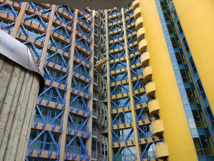 Architecture Built Structure Building Exterior Building Day No People Outdoors Low Angle View Modern City Pattern Side By Side Blue Construction Industry Office Building Exterior Office Yellow Tower Nature Residential District Apartment