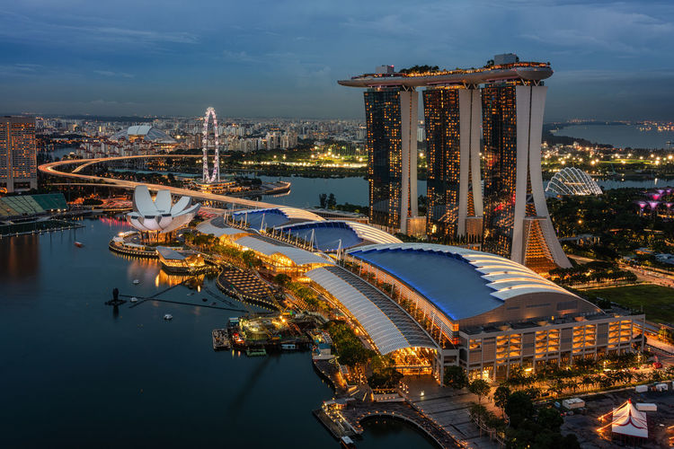 High angle view on Marina bay Sands, Singapore Asian Culture Luxury Hotel Marina Bay Sands Hotel Architecture Building Exterior Built Structure City Cityscape High Angle View Illuminated Luxury Marina Bay No People Singaporestreetphotography Skyscraper Travel Destinations Water