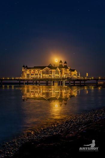 Seebrücke Sellin Ostsee Baltic Sea Rügen Nightphotography Night Water Sky Tourism Beach GERMANY🇩🇪DEUTSCHERLAND@ Clouds And Sky Architecture Travel Destinations Outdoors Moon Moody Sky